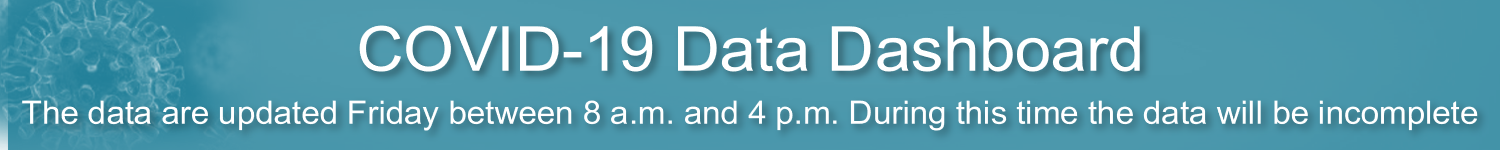COVID-19 Data Dashboard: The data are updated Friday between 8 a.m. and 4 p.m. During this time the data will be incomplete